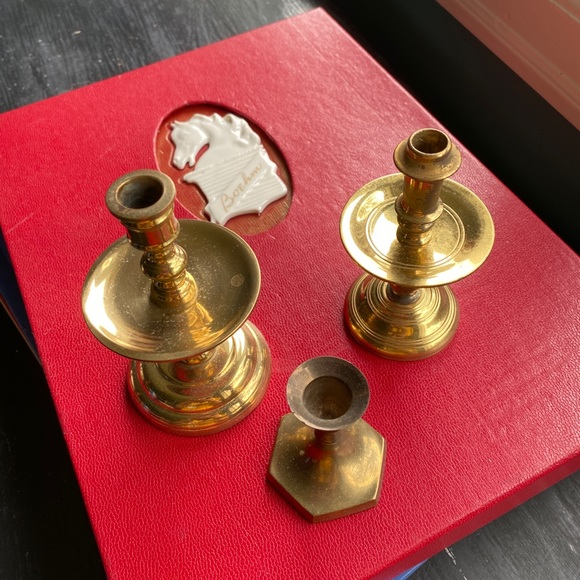three vintage smaller brass candleholders